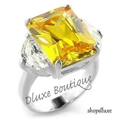 14.6 CT RADIANT CUT YELLOW CITRINE AAA CZ .925 STERLING SILVER ENGAGEMENT (Citrine Radiant Ring)