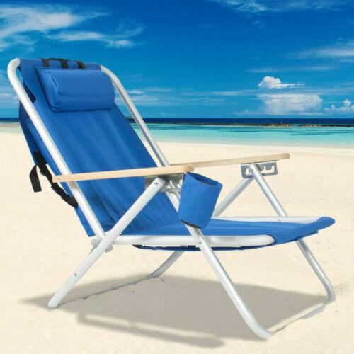 US Portable High Strength Beach Chair Backpack Foldable Adjustable Headrest Blue