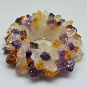 Amethyst/Citrine/Quartz TeaLight candle Holder Tea light Crystal Mix Gemstones