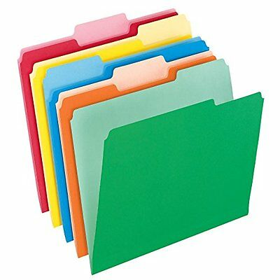Two Tone Color File Folders Letter Size 1 3 Cut Assorted Colors 100 per Box