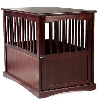 - Dog Crate Wood End Table Pet Comfort Kennel Indoor Pet Furniture  Large Brown