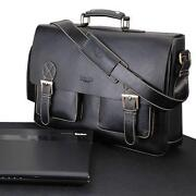 Mens Black Leather Briefcase