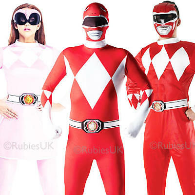 Mighty Morphin Power Rangers Adult Fancy Dress 1990s Mens Ladies Costume Outfits