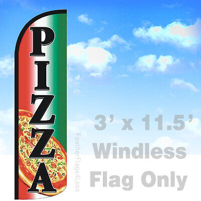 Pizza - Windless Swooper Feather Flag 3x11.5 Banner Sign - Gq