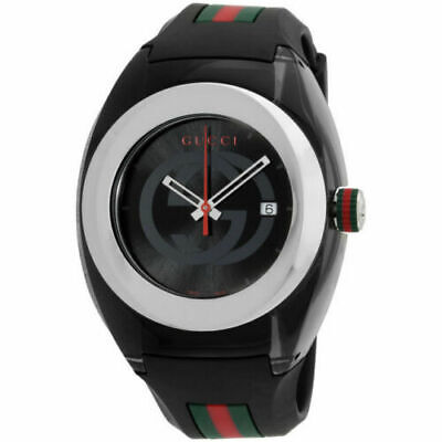 NEW Gucci SYNC XXL (YA137101) Stainless Steel Watch with Black Rubber Bracelet