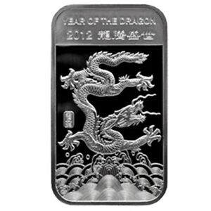 (1) 2012 Year of the Dragon  Gem BU 1 oz..999  Silver Bar Mint Sealed
