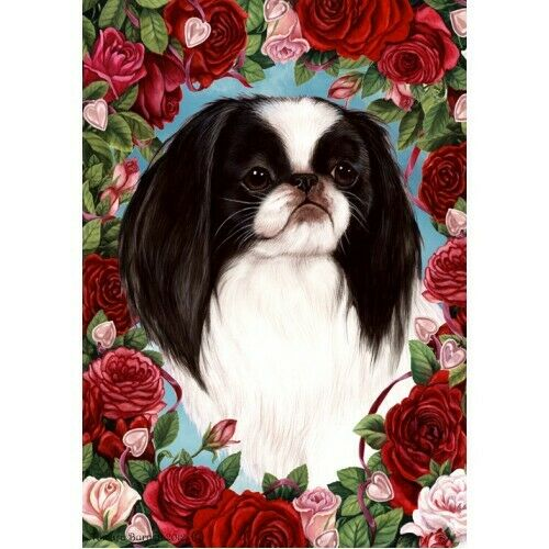 Roses House Flag - Japanese Chin 19133