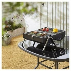 Portable Barbecue Camping Cooker Twin Grill Barrel Coal BBQ Festival Fire NEW