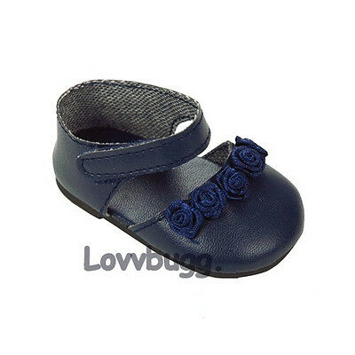 "Lovvbugg Navy Blue Flower for 18"" American Girl or Bitty Baby Doll Shoes"