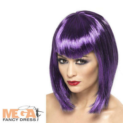 Purple Vampire Wig Ladies Fancy Dress Vampiress Halloween Adults Costume Acc - Vampiress Wigs