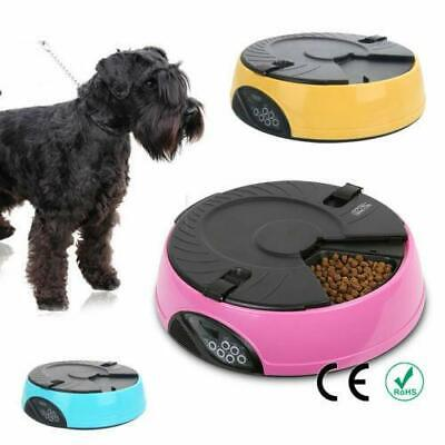 6 Meal Timed Automatic Pet Feeder Dog Cat Food Bowl Dispenser Pink Blue Yellow Blue Pet Feeder