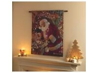 Christmas Decorations Lit LED Tapestry Wall Art Santa By The Fireplace