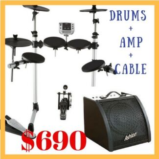 BRAND NEW ELECTRONIC DRUM KIT WITH DRUM AMP AND LEAD $690