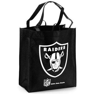 Nfl Oakland Raiders 2016 Reusable Shopping Bag Black Tote Bag Reuse Recycle