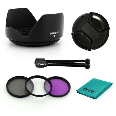 67mm Lens HOOD, filter kit,CAP,TRIPOD for Canon EOS 7D 50D 60D 600D T4i 18-135mm, used for sale  Shipping to India