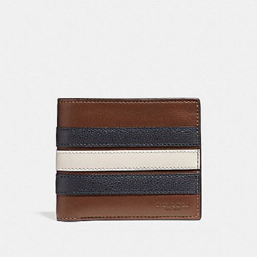 Coach Men's 3-In-1 Varsity Stripe Saddle Leather Wallet
