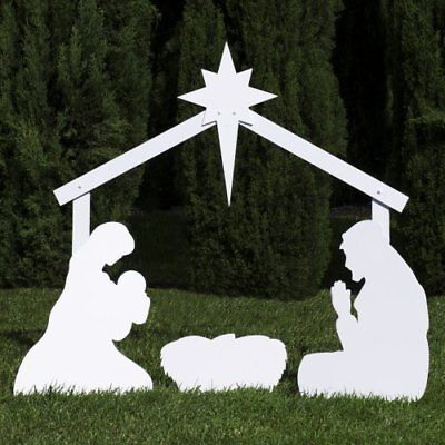 Silhouette Outdoor Nativity Set - Holy Family Yard Scene w Standard Crafted Size - Nativity Scene Sets Outdoor