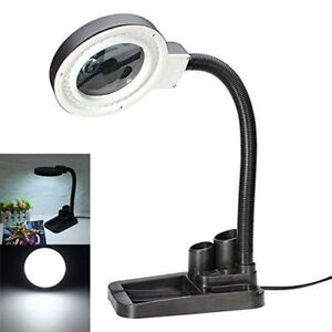 Magnifying Crafts Glass Desk Lamp With 5X 10X Magnifier With 40 LED Lights New