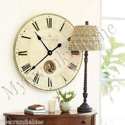Large Gray Pendulum Wall Clock 30 Roman Numerals Traditional Classic