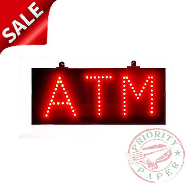 Atm Sign - Ultra-bright Red Led Lighted Sign - New In Box Free Shipping
