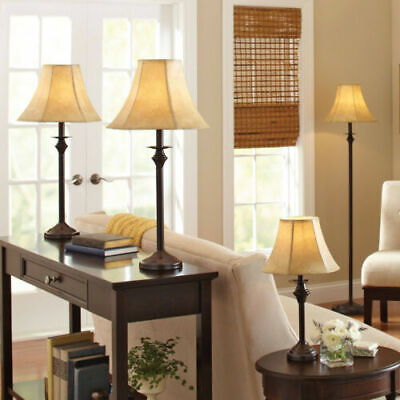 4 PIECE LAMP SET Light Floor Table Accent Lamps Vintage Shade Bronze Finish NEW ()