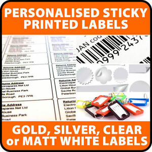 500+ Personalised Gloss CLEAR waterproof Sticky Labels Transparent, Permanent
