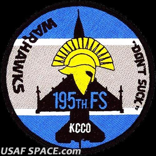 USAF 195th FIGHTER SQUADRON- F-16 -WARHAWKS- AZ-ANG ORIGINAL AIR FORCE VEL PATCH