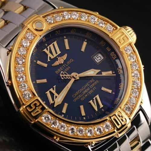 Breitling Windrider B-class Ladies Two Tone 31mm Watch Diamond Bezel D67365