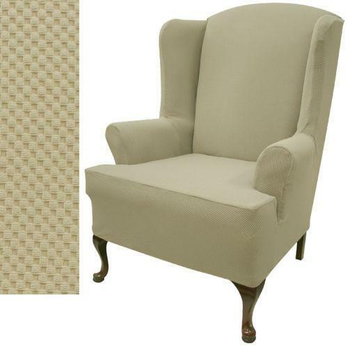 Wing chair cover slipcovers ebay for Furniture slipcovers for wingback chairs