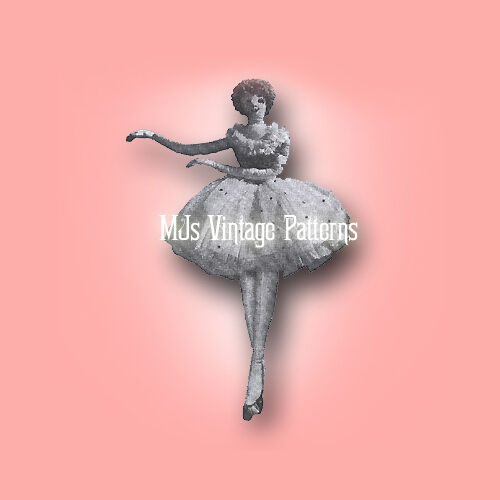 "Vintage Graceful 27"" Ballerina Cloth Stuffed Doll Toy Pattern"