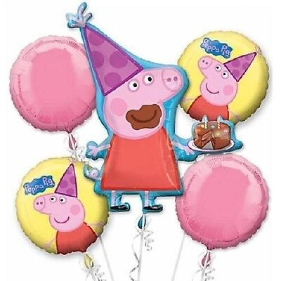 5 Piece Peppa Pig Foil Mylar Birthday Balloon Bouquet Party Decorating Supplies - Peppa Pig Birthday Balloons