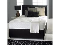 Double divan bed black with drawers and ortho mattress