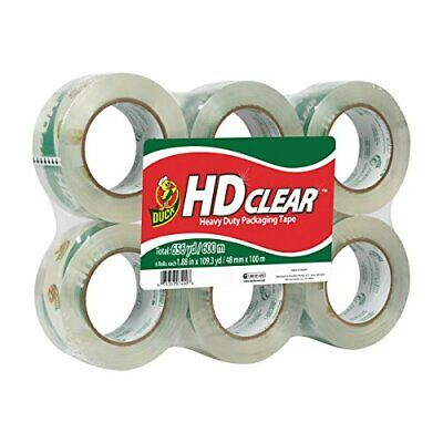 Duck Hd Clear Heavy Duty Packing Tape 1.88 Inch X 109 Yards 6 Rolls 299016