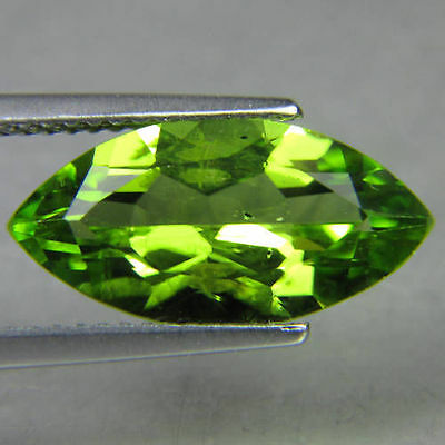 UNUSUAL 8x4mm MARQUISE-FACET STRONG-GREEN NATURAL AFGHAN PERIDOT GEMSTONE