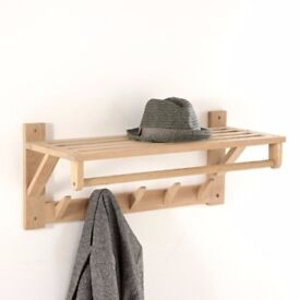 Natural wood (wall-mounted) coat and hat rack