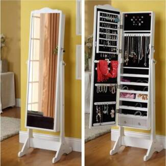 #120 Free Standing Mirror Jewellery Cabinet Wardrobe White Hallam Casey Area Preview