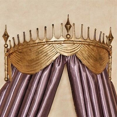 NEW STUNNING Victorian REGAL Ornate Scroll GOLD Metal BED CROWN CORNICE TESTER