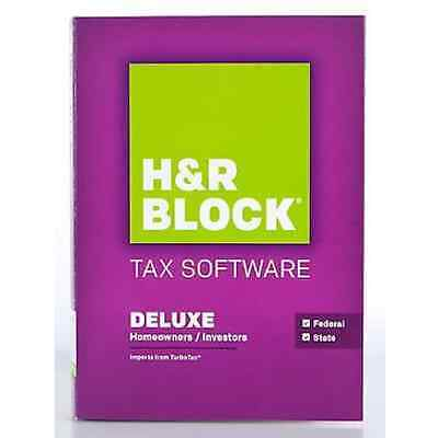 H R Block Tax Software Deluxe Homeowners Investors 2015 Federal State Return H R
