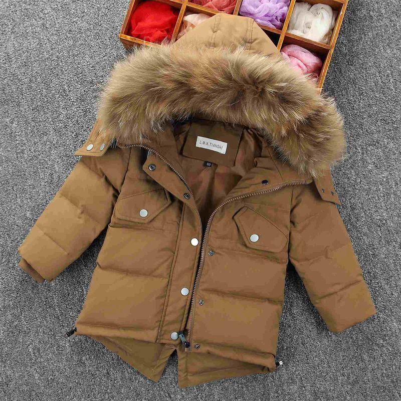 bc31ff44c17b Kids Retro Padded Parka Jacket Real Fur Hooded Duck Down Boys Winter ...