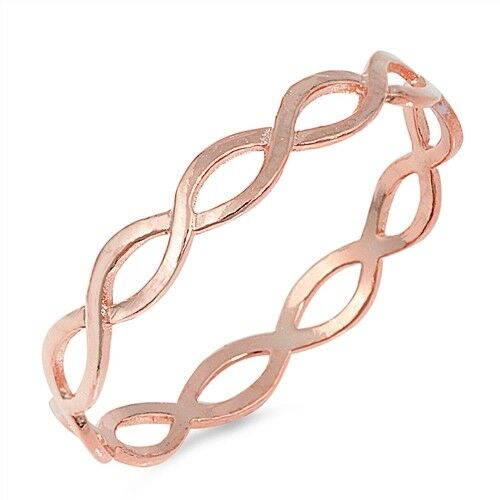 Sterling Silver Rose Gold Plated Braid Ring, Sizes 5-10