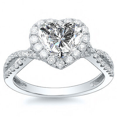 2.80 Ct Halo Heart Cut Diamond Twist Shank Engagement Ring G,VS2 GIA 18K