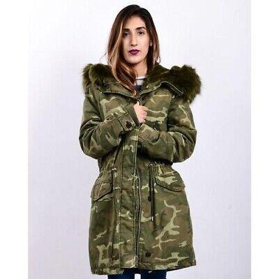 Women's Zara Trafaluc Outerwear Camo Hooded Parka Jacket Coat XS for sale  Castle Rock