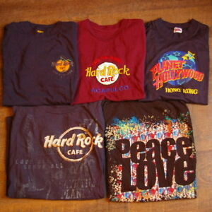 4 Hard Rock Cafe 1 Planet Hollywood t-shirts Size M and L