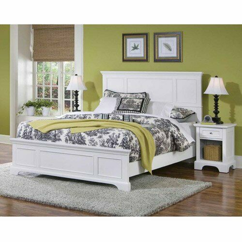 Home Styles Naples Queen Panel Bed 2 Piece Bedroom Set in White Finish