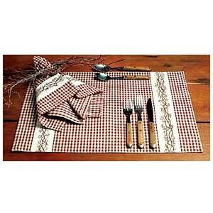 New Country Primitive BERRY VINE Burgundy Check Placemat Table Doily Place Mat