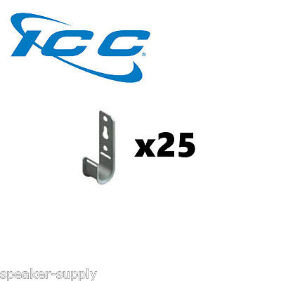 """ICC 25 Pack 3/4"""" J-Hook Wall Ceiling Mount Route Network Cable Wires ICCMSJHK22"""