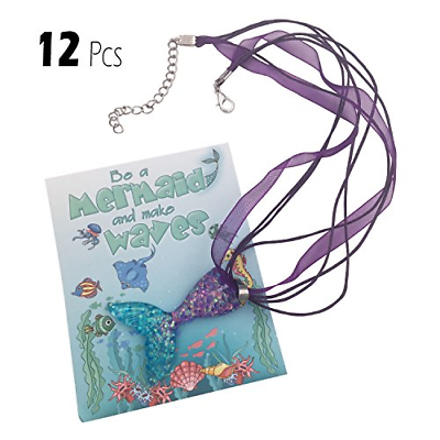 12 Mermaid Necklace Party Supplies Favors Gifts For Girls In