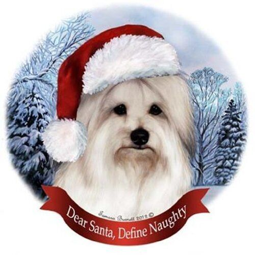 Coton de Tulear Dog Santa Hat Christmas Ornament Porcelain China USA-made