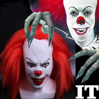 Red Stephen King's It Mask Cosplay Pennywise Clown Mask Scary Halloween Mask New - It Clown Halloween Mask