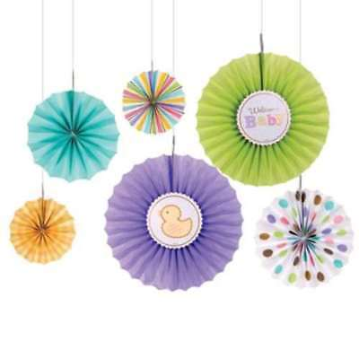 BABY SHOWER Tiny Bundle PAPER FAN DECORATIONS (6) ~ Party Supplies Neutral Ducks (Baby Shower Neutral Decorations)